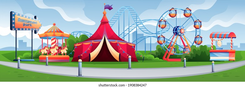 Amusement park or carnival background. Holiday and vacation recreation at fun fair vector illustration. Attraction park with rollercoaster, carousel, candy stall, ferris wheel. Horizontal panorama.