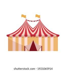 amusement park carnival circus tents flat design vector illustration