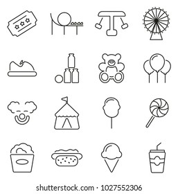 Amusement Park or Carnival or Fair Icons Thin Line Vector Illustration Set