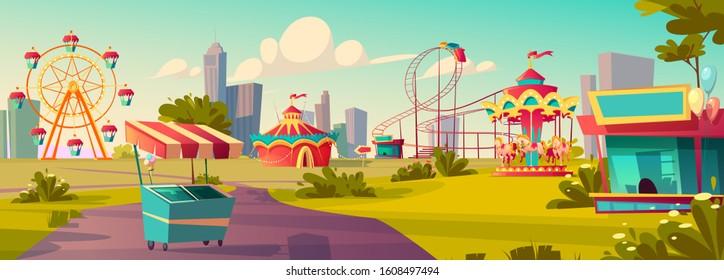 Amusement park, carnival or festive fair cartoon vector illustration. Circus tent arrow pointer, carousel, merry-go-round, ferris wheel and roller coaster and ice cream cart children summer city fun