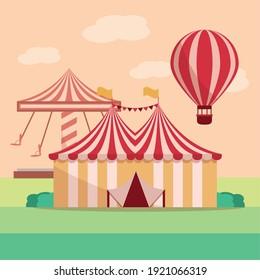 amusement park carnival tent carousel and air balloon vector illustration