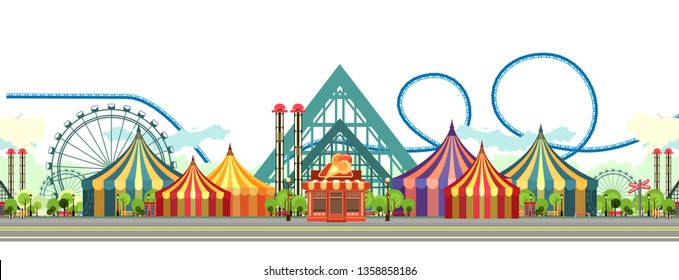 Amusement Park, carousel swing, circus tents on city landscape background, Fan fire show, carnival vector horizontal illustration on white background isolated