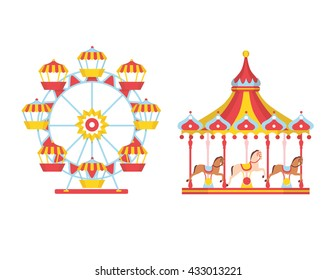 Amusement park with carousels and ferris wheel. Vector illustration.