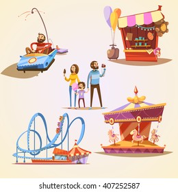 Amusement park cartoon set with retro style attractions isolated vector illustration