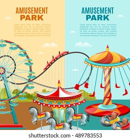 Amusement park cartoon vertical banners roller coaster ferris wheel and carousel flat vector illustration