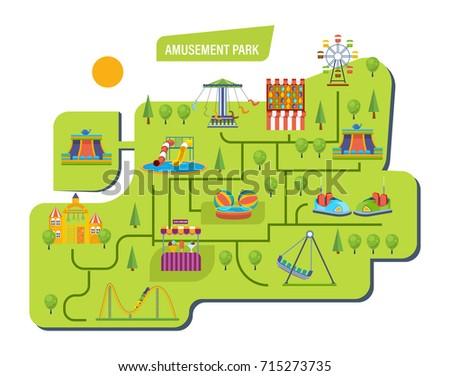Amusement Park Children Carousels Roller Coaster Stock Vector