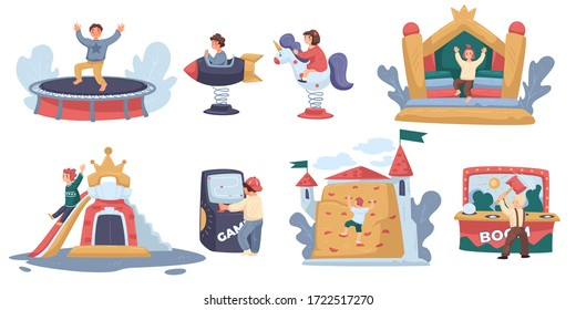 Amusement park, children ride attraction, little boy jumping on trampoline, isolated icons vector. Children ride toy horse and rocket, climbing tree. Slide and game machine, climbing castle wall