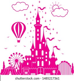Amusement park. Children's fairytale entertainment castle on the background of attractions, fireworks, balloon. Illustration, vector.