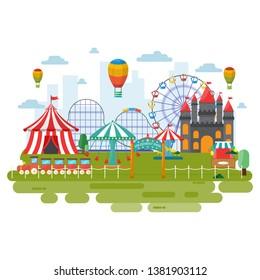 Amusement Park Circus Carnival Festival Fun Fair Landscape Illustration