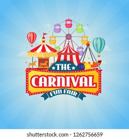 Amusement park with circus, carousels and roller coaster with carnival fun fair text. vector illustration