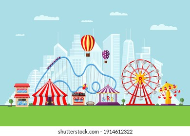 Amusement park with circus carousels roller coaster and attractions on modern city background. Fun fair and carnival theme landscape. Ferris wheel and merry-go-round festival vector eps illustration