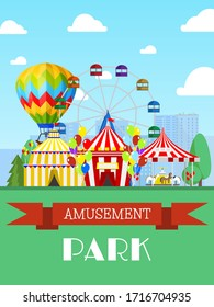 Amusement park and circus tent, ferris wheel flat vector illustration. Entertainment show, promotional invitation card. Spectacle children carousel awning design banner for website.
