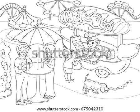 Amusement Park Coloring Pages Children Hot Stock Vector Royalty