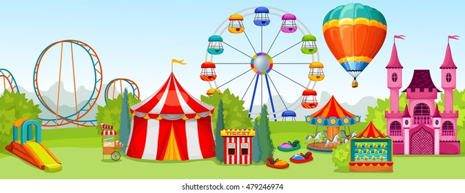 Amusement park concept of extreme and entertainment attractions on background of summer natural landscape vector illustration