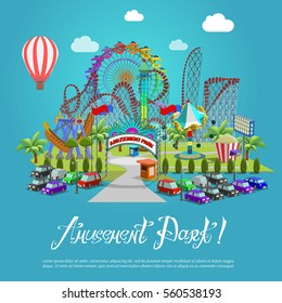 Amusement park concept with flat fairground elements on background. Vector illustration.