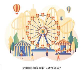 Amusement park concept. Tiny people with carousels, roller coaster, air balloon, circus, fun fair and carnival. Modern flat cartoon style. Vector illustration