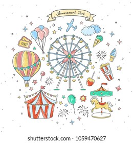 Amusement park cute elements and illustrations. Vintage fair vector drawings
