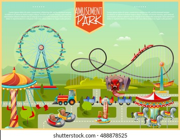 Amusement park design composition with ferris wheel swing carousel and kids cars in cartoon style flat vector illustration