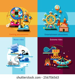 Amusement park design concept set with gaming entertainment attractions water and extreme rides flat icons isolated vector illustration