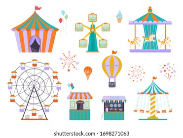 amusement park. different funny attractions for kids ride wheel circus tent carousel. vector playground elements