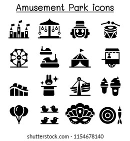 Amusement park & Festival icon set