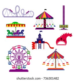 Amusement Park in flat colorful vector style.