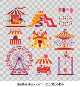 Amusement park flat elements with carousels, waterslides, balloons, flags, inflatable trampoline castle, ferris wheel, mobile kiosk with sweets, catapult on transparent background. Set family