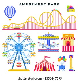 Amusement park flat elements, set. Entertainment attractions for family rest in park. Circus tent, carousel, ferris wheel, balloon, roller coaster, ticket office, ice cream tray. Vector illustration.