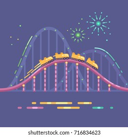 Amusement park flat illustration. Roller coaster and fireworks at night
