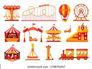 Amusement park flat set. Carousel cartoon style. Fairground, rollercoaster, carousel horse, air balloon, ferris wheel, kid fun time. Circus marquee summer outdoor leisure. Isolated vector illustration