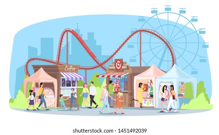 Amusement park flat vector illustration. Roller coaster, ferris wheel, market stalls with food, toys. People walk funfair, circus fair cartoon characters. Kids and adults enjoy fairground attractions