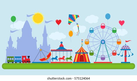 Amusement Park in flat vector style. The concept of fair and amusement.