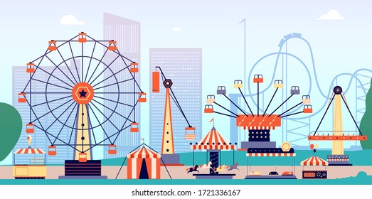 Amusement park. Fun fair, circus entertainment or carnival. Recreation with roller coaster and ferris wheel. Vector fairground background