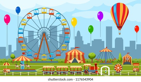 Amusement park. Fun park vector theme, kids carnival entertainments daytime, children amusing attractions cartoon illustration