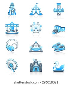 Amusement park or funfair attraction blue-gray icon-set