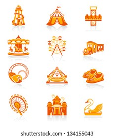 Amusement park or funfair attraction red-orange icon-set