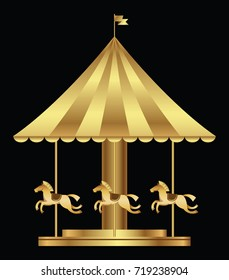 Amusement park with golden carousel horses isolated on black background. Vector illustration.