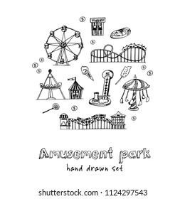 Amusement park hand drawn doodle set. Sketches. Vector illustration for design and packages product. Symbol collection.