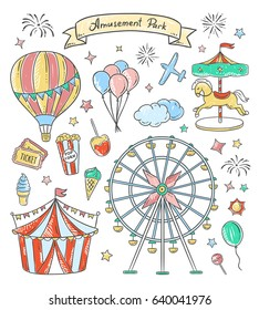 Amusement park hand drawn illustrations. Vintage fair vector elements