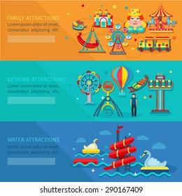 Amusement park horizontal banner set with water family extreme attractions flat elements isolated vector illustration