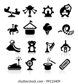 Amusement Park icons set elegant series