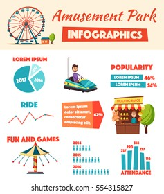 Amusement park infographics. Cartoon vector illustration. Fun and games. For presentation and statistic
