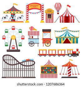 Amusement park isolated icons. Vector flat illustration of circus tent, carousel, ferris wheel and other attractions. Carnival design elements.