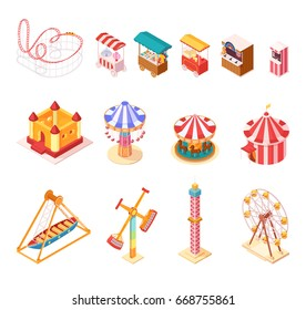Amusement park isometric cartoon icons set with seesaw medieval castle ferris wheel circus tent popcorn and ice cream booths isolated vector illustration