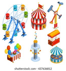 Amusement park isometric decorative icons set with ferris wheel circus tent popcorn vendor balloons and gift booths in cartoon style isolated vector illustration