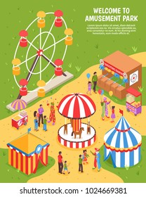Amusement park isometric poster with carousel ferris wheel shooting range clowns meeting visitors 3d vector illustration