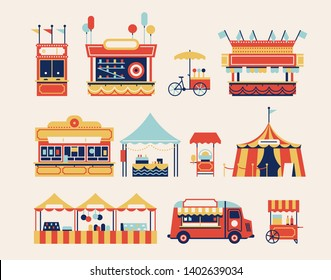 Amusement park kiosks, carts, and tents with food, snacks, ice cream, sweets, gifts and souvenirs. Summer fair or street market festival decorative items