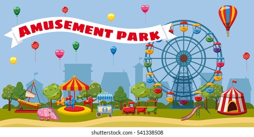 Amusement park landscape concept theme. Cartoon illustration of amusement park landscape. Carnival ferris and kids vector concept for web