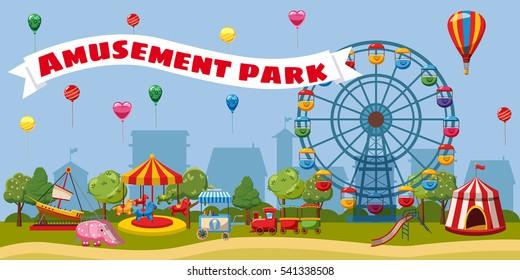 Amusement park landscape concept theme. Cartoon illustration of amusement park landscape. Carnival ferris and kids vector concept for web