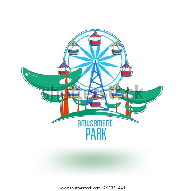 Amusement Park Logo Template Ferris Wheel Stock Vector Royalty Free 265331441
